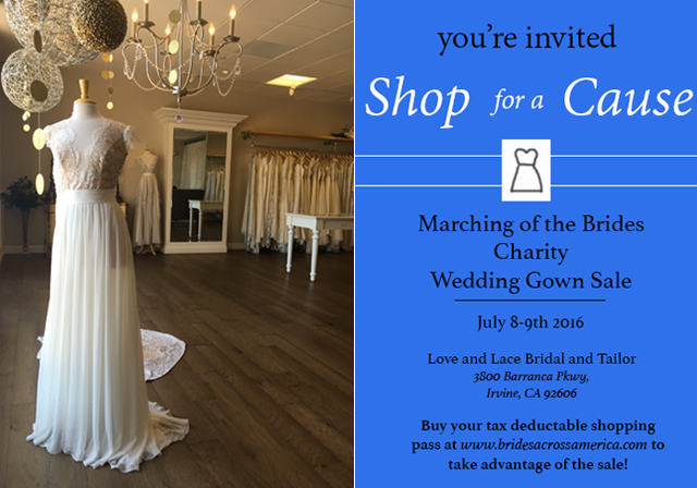 Shop for a Cause! | Marching of the Brides Charity Wedding Gown SALE at Love and Lace Bridal Salon July 8th & 9th - www.loveandlacebridalsalon.com/blog