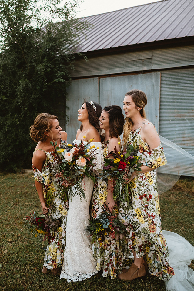 Real Bohemian Bride in Daughters of Simone off the shoulder gown | Bohemian Wedding | www.loveandlacebridalsalon.com.blog