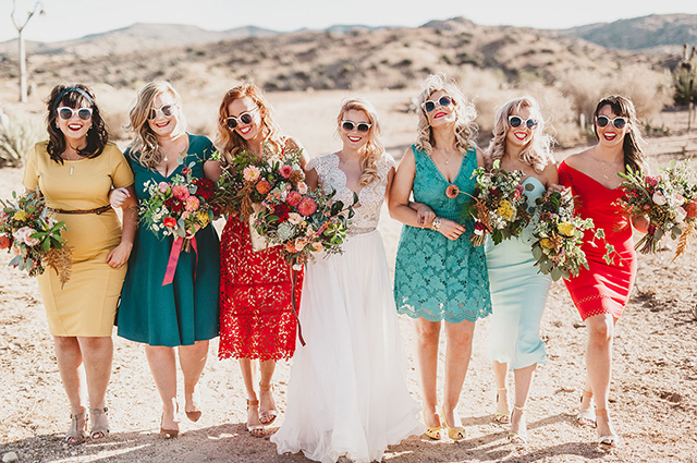 Our real bride and photographer Dana Grant in custom Divine Atelier | Found at Love and Lace Bridal Salon | Featured on Green Wedding Shoes - www.loveandlacebridalsalon.com/blog | cool bride, Wes Anderson inspired, desert wedding, retro wedding