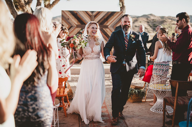 Coolest bride and photographer Dana Grant in custom Divine Atelier | Found at Love and Lace Bridal Salon | Featured on Green Wedding Shoes - www.loveandlacebridalsalon.com/blog | cool bride, Wes Anderson inspired, desert wedding, retro wedding